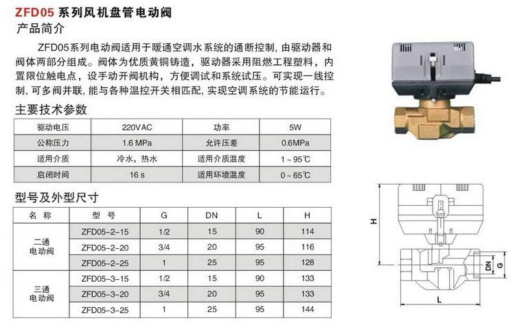 zfd05系列风机盘管电动阀图片